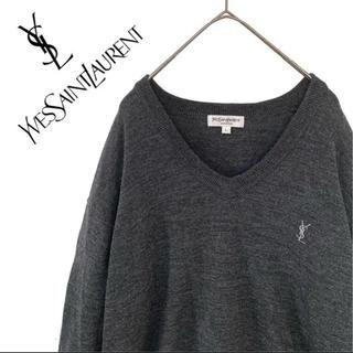 サンローラン(Saint Laurent)のイブサンローラン ロゴ刺繍 ニット セーター グレー メンズ コート(ニット/セーター)