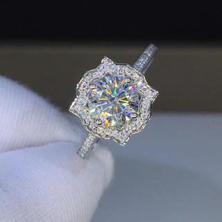 【1カラット 】輝くモアサナイト ダイヤモンド リング k18(リング(指輪))