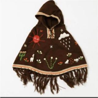 チチカカ(titicaca)の最終値下げ 新品 チチカカ キッズ ニット ポンチョ 刺繍 ブラウン 110cm(カーディガン)