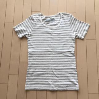 ムジルシリョウヒン(MUJI (無印良品))の無印 ボーダーTシャツ グレー×白(Tシャツ(半袖/袖なし))