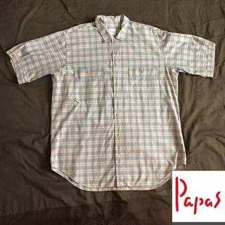 Papas メンズ 半袖 綿 チェックシャツ ④(シャツ)