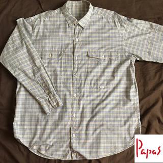 Papas メンズ 長袖 綿 チェック シャツ ①(シャツ)
