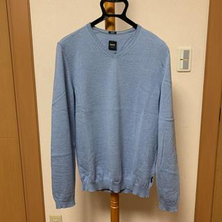 ヒューゴボス(HUGO BOSS)のHUGO BOSS ヒューゴボス メリノ素材ニット 長袖 ライトブルー(ニット/セーター)