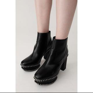マウジー(moussy)のMOUSSY マウジー WOOD SOLE BOOT 柄 ブラック M(ブーツ)