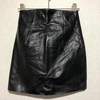 ルシェルブルー(LE CIEL BLEU)のルシェルブルー LE CIEL BLEU KYMERAH レザースカート 黒(ミニスカート)