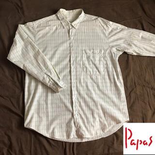 Papas メンズ 長袖 綿 チェック シャツ  ③(シャツ)