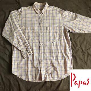 Papas メンズ 長袖 綿 チェック シャツ ②(シャツ)