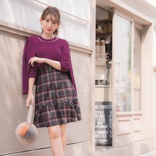 リランドチュール(Rirandture)の美品♡リランドチュール チェック 切替Aラインスカート 秋 冬(ひざ丈スカート)
