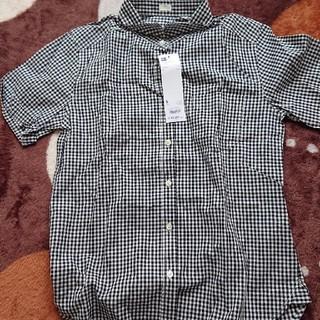 ジーユー(GU)のチェックシャツ黒(シャツ/ブラウス(半袖/袖なし))