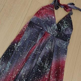 キラキラ ロングドレス(赤×黒)(ロングドレス)