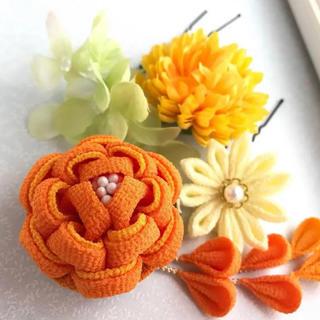 髪飾り 成人式⁑七五三 黄色×橙色