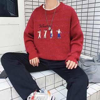 【新品】メンズ セーター レッド(ニット/セーター)