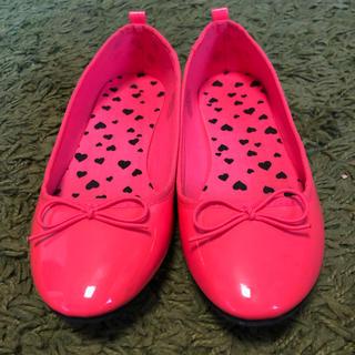 プレーントゥ リボン バレエ フラット ペタンコ靴  21.5cm ピンク(バレエシューズ)