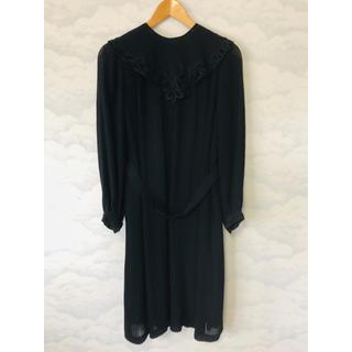 ソワール(SOIR)の【美品】 TOKYO SOIR ソワール  ドレス ワンピース ブラック 11号(ひざ丈ワンピース)
