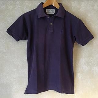 古着 メンズ レディース 半袖 ポロシャツ ネイビー系パープル M