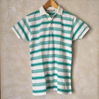 ズーム(Zoom)の美品!メンズ レディース 半袖 ポロシャツ ホワイト×グリーン ボーダー 古着(ポロシャツ)