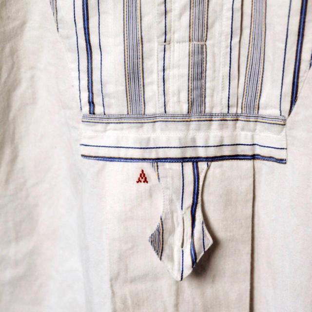 フランス ヴィンテージ 1900's ストライプ切替リネン シャツスモック メンズのトップス(シャツ)の商品写真