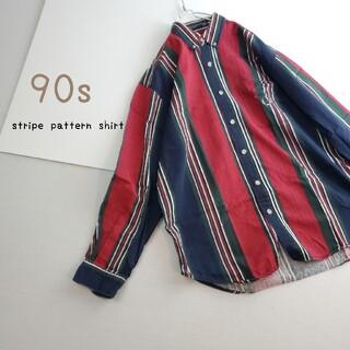 1980s~ マルチカラー ヘリンボーン ストライプシャツ ワンポイント刺繍(シャツ)