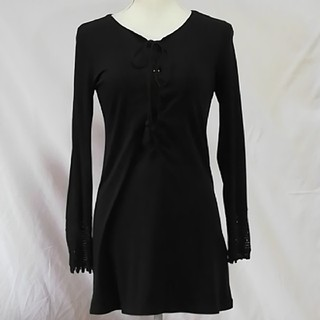 美品スポーティフ黒いシンプルなカットソー、サイズS。SPORTIFF (カットソー(長袖/七分))