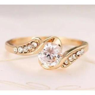 ✨定価5980円✨イエローゴールド スーパーCZダイヤデザイナーズ リング指輪