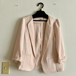 Apuweiser-riche - 美品‼︎ ノーカラージャケット テーラードジャケット サーモンピンク 七分袖