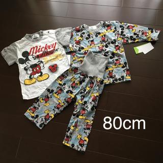 Disney - ミッキー パジャマ3点セット80cm