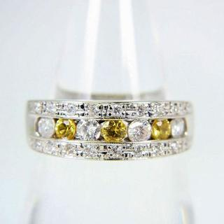 Pt900 イエローサファイア ダイヤモンド リング 11.5号 [f68-3](リング(指輪))