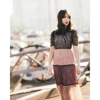 Multicolored Lace Dress レース ピンク