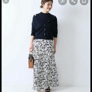 Noble - フラワープリント 裾フレアスカート