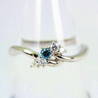 テイクアップ(TAKE-UP)のテイクアップ Pt900 ブルー、無色ダイヤモンド リング 10号[f68-7](リング(指輪))