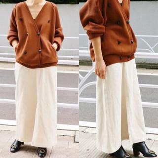 IENA -  IENA 太コールロングスカート 38 ホワイト