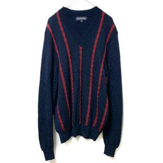 ブルックスブラザース(Brooks Brothers)のブルックスブラザーズ Vネック ニット セーター メンズ M ライン 長袖 紺系(ニット/セーター)
