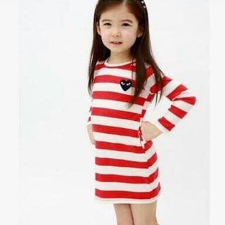 110cm ギャルソン風 ボーダーワンピース 韓国子供服 ハロウィン ウォーリー(ワンピース)