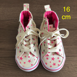 ヴァンズ(VANS)の【美品】VANS キッズ 靴 スニーカー size 16cm 星柄 ピンク(スニーカー)