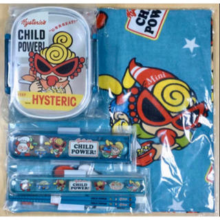 HYSTERIC MINI - ヒスミニ☆正規品☆新品☆ランチ☆4点セット☆お弁当箱☆お箸☆フォーク☆クロス