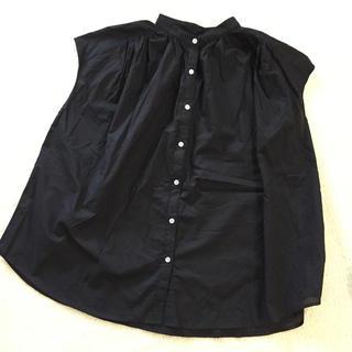 ジーユー(GU)のGU ボリュームギャザーブラウス ブラック M(シャツ/ブラウス(半袖/袖なし))