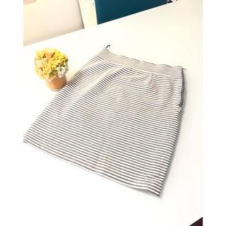 スピックアンドスパン(Spick and Span)のお値下げ⭐︎GALLARDAGALANTE グレーボーダータイトスカート(ひざ丈スカート)