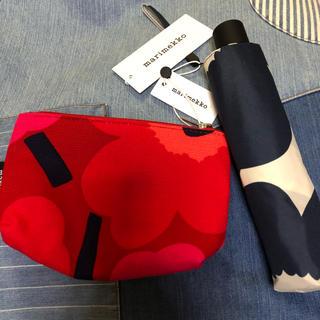 マリメッコ(marimekko)のmarimekko マリメッコ 折りたたみ傘 ポーチ 2個セット(傘)