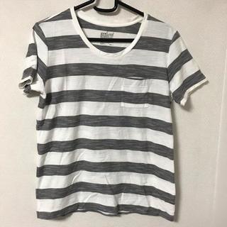 ムジルシリョウヒン(MUJI (無印良品))の無印良品MUJI グレー×ホワイト ボーダー Tシャツ(Tシャツ(半袖/袖なし))
