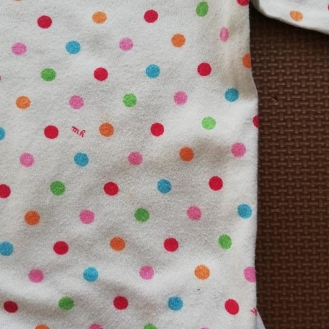 mikihouse(ミキハウス)の2枚セット ミキハウス ピンクのカーディガン ドット柄長袖シャツ  キッズ/ベビー/マタニティのベビー服(~85cm)(シャツ/カットソー)の商品写真