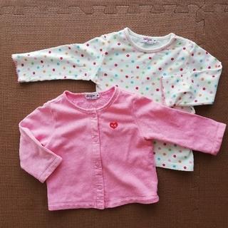 ミキハウス(mikihouse)の2枚セット ミキハウス ピンクのカーディガン ドット柄長袖シャツ (シャツ/カットソー)