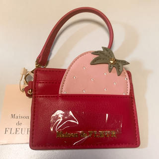 メゾンドフルール(Maison de FLEUR)のMaison de FLEUR  いちご カードケース ピンク(名刺入れ/定期入れ)