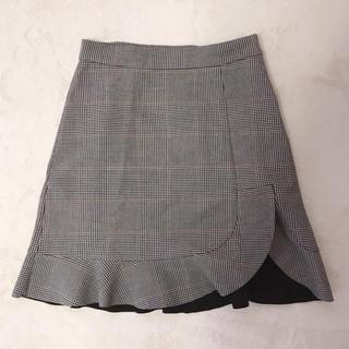 ZARA - ザラ 台形スカート フリル チェック 秋冬