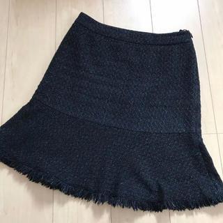 ランバンオンブルー(LANVIN en Bleu)の【美品】38 ランバンオンブルー ツィードスカート(ひざ丈スカート)