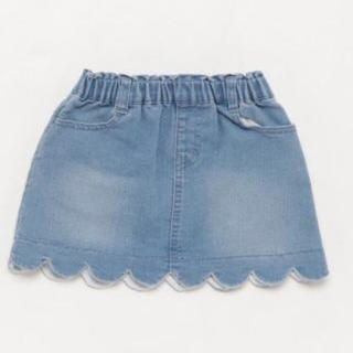 petit main - プティマイン 100 デニム スカート スカラップ 新品