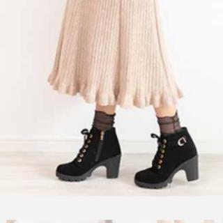 ショートブーツ スエード 黒(ブーツ)