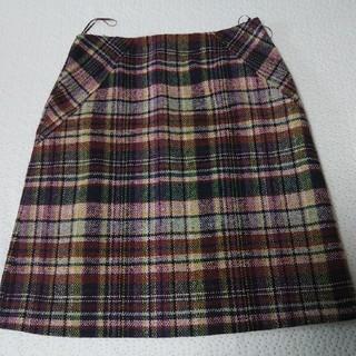 ローラアシュレイ(LAURA ASHLEY)のローラアシュレ☆ピンクチェック 冬スカート(ひざ丈スカート)