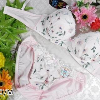 085★D70 M★美胸ブラ ショーツ 谷間メイク パンジー ピンク(ブラ&ショーツセット)