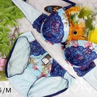 074★D75 M★美胸ブラ ショーツ Wパッド 花 レース 水色×紺(ブラ&ショーツセット)
