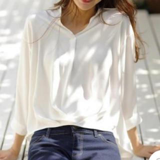 裾タックトロミスキッパー7分袖シャツ オフホワイト